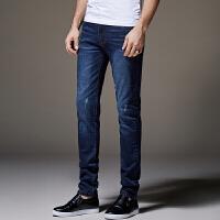 弹力牛仔裤男秋季修身型小脚男裤子男装大码青年韩版潮流长裤 蓝色