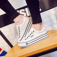 匡王新款平底白色布鞋女低帮帆布鞋女韩版学生板鞋休闲鞋厚底女鞋松糕鞋子