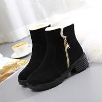 2017新款冬季韩版时尚反绒皮带扣低筒针织短靴加绒保暖女雪地靴潮