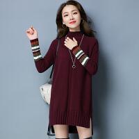 新款韩版半高领毛衣女秋冬中长款宽松套头打底羊绒衫加厚保暖毛线