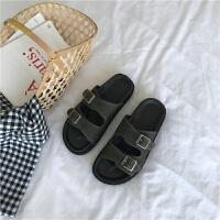 2018韩国夏季新款百搭一字带凉鞋平底外穿拖鞋女鞋子学生罗马鞋潮