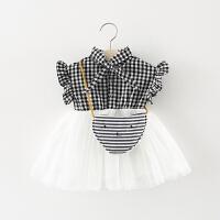 洋气女童裙子夏季儿童格子网纱公主裙0一1-3岁小童宝宝夏装连衣裙