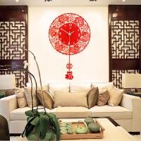 家用中式客厅创意电子挂钟个性摇摆钟表时尚现代卧室静音艺术时钟 红色 20英寸以上