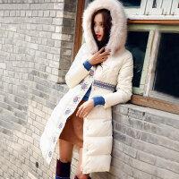裂帛女装2017冬新款连帽领仿毛刺绣长袖白鸭绒衣长款羽绒服女