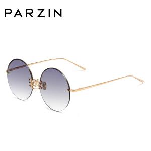 帕森太阳镜 女士金属半框圆框浅色尼龙镜片潮墨镜 2018新品7721