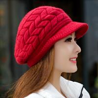 帽子韩国女士秋冬天贝雷针织护耳毛线帽兔毛帽潮冬季加厚保暖韩版