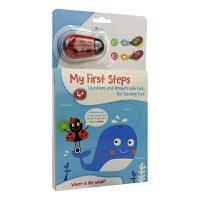 My First Steps Whale 我的步瓢虫宝贝游戏书小鲸鱼英文原版进口图书儿童启蒙活动游戏书数字形状单词比大