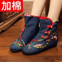 老北京布鞋女春冬短靴子平底靴民族风圆头马丁靴单靴子绣花靴女鞋 蓝色 15-88加棉