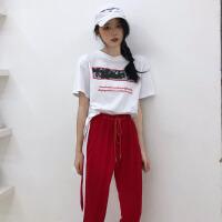 韩版运动休闲套装夏装女装宽松字母短袖T恤上衣+小脚哈伦裤两件套 均码