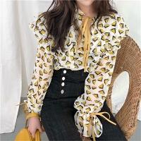 春装新款荷叶边系带领长袖衬衫花色上衣宽松喇叭袖雪纺衫衬衣女装