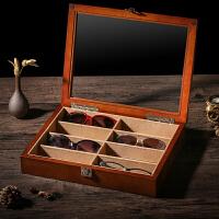 木质制玻璃天窗眼镜盒八格太阳镜墨镜近视镜展示盒收藏收纳盒子