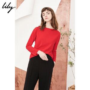 【每满200减100】Lily2018秋新款女装纯色一字领修身卫衣肩绑带卫衣118120A8706