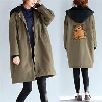 大码风衣外套女胖mm2017新款200斤秋冬季韩版中长款加绒加厚棉衣