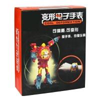 儿童早教变形机器人手表创意变形金刚男孩女孩宝宝手表玩具 C902中国红-彩盒