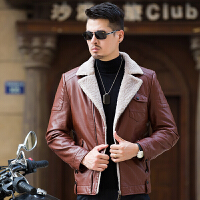 秋冬新款皮毛一体男士韩版修身皮衣加绒加厚中青年外套皮夹克 2