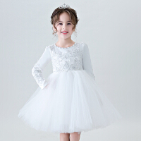 儿童礼服女秋装新款连衣裙童装女童长袖公主裙花童婚纱蓬蓬裙 白色