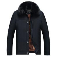 反季棉衣男加厚中老年棉衣新款冬季外套中年宽松短款男士棉袄 大气黑 纽扣款