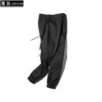 潮牌秋季新款黑色工装裤男个性潮流宽松收口运动休闲裤男士束脚裤 黑色