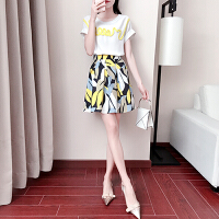 套装女夏季2018新款女装时尚短袖上衣搭配小香风俏皮裙子两件套 白色 白色+花色
