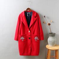 B4冬新款中长款韩版口袋刺绣花毛呢外套妮子大衣女装学生1.05