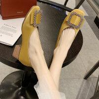 户外温柔单鞋韩版休闲时尚水钻方头浅口中粗跟女鞋
