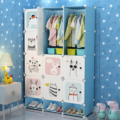 儿童收纳柜 儿童简易塑料衣柜2019新款抽屉式卡通宝宝婴儿衣橱收纳架组装储物柜子 儿童简易塑料衣柜