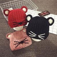 儿童毛线帽冬天男女宝宝帽子1-2岁秋季保暖护耳加绒婴儿帽子韩版