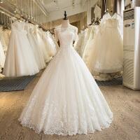 婚纱礼服新款一字肩齐地婚纱新娘结婚韩版蕾丝显瘦婚纱 白色