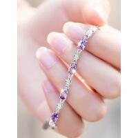 紫水晶chic冷淡风银手链女银韩版简约个性学生森系闺蜜女生气质