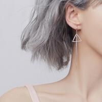 冷淡风耳环女流苏银气质耳钉韩国简约个性长款潮人百搭耳钩 通体纯银耳环一对