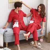 两套价 婚庆夏季情侣睡衣纯棉短袖男女家居服套装大红色结婚睡衣