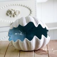 客厅摆件欧式装饰品陶瓷贝壳烟灰缸地中海创意家居摆设卧室工艺品 贝壳