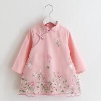 女童绣花旗袍童装儿童宝宝复古风长袖连衣裙礼服裙子