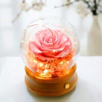花逅 巨型玫瑰音乐盒玻璃罩礼盒创意蓝牙音箱音响送女孩生日礼物 巨型粉色玫瑰 蓝牙音箱 (带灯 无旋转)