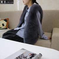 2017秋冬季仿狐狸毛皮草马甲女外套中长款时尚背心大码显瘦坎肩潮 深灰色 深灰色