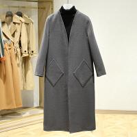双面呢大衣女冬装新款 韩版V领开衫中长款休闲呢子外套