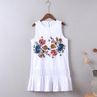 V5刺绣连衣裙夏季新款韩版 中长款荷叶边显瘦背心裙打底裙0.2