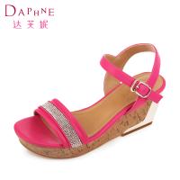 达芙妮夏季厚底女士凉鞋 时尚水钻松糕底高跟鞋韩版坡跟女凉鞋