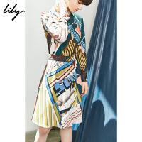 【2件4折到手价:351.6元】 Lily秋新款女装时髦复古印花收腰衬衫式连衣裙119340C7237