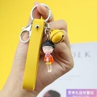 樱桃书包挂件小丸子公仔钥匙扣 韩国动漫铃铛钥匙链情侣书包挂饰