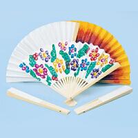 空白折扇批发 7寸素面儿童diy绘画扇子幼儿园创意diy手工制作材料 EF27013