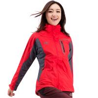 户外运动女款三合一抓绒冲锋衣 两件套防泼水防风登山滑雪服 红色 S