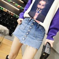 牛仔短裙女裙子春装2018新款女装韩版时尚百搭排扣半身裙女裙裤潮 牛仔蓝