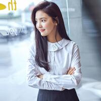 【2件2.5折】唐狮秋装新款衬衫女可爱翻圆领卡通长袖衬衣纯白色