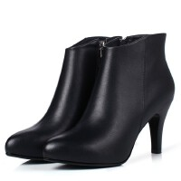 2017年秋冬欧美真皮短靴圆头高跟鞋侧拉链纯色女靴子 黑色