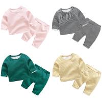 妈咪kiss蓓莱乐婴儿衣服加绒3个月男宝宝保暖女童睡衣套装秋冬装