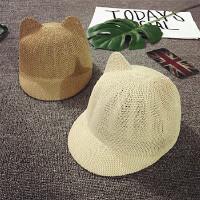 宝宝帽子1-2岁夏季遮阳帽男童帽韩版潮女童帽棒球帽猫耳朵鸭舌帽