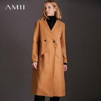 Amii[极简主义]现代感搭片毛呢外套女2017冬装新款宽松纽扣大衣