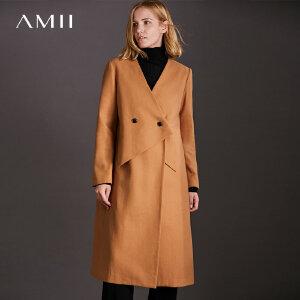 【品牌团 1件7折/2件5折】Amii[极简主义]现代感 搭片毛呢外套女 2017冬装新款宽松纽扣大衣