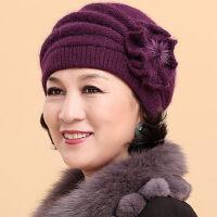 老人帽女帽子女冬天保暖中老年人奶奶兔毛老年棉帽冬季妈妈毛线帽